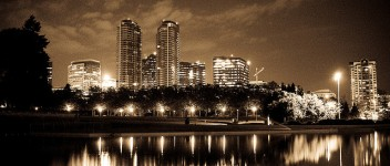 Bellevue skyline sepia tone
