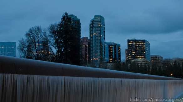park-waterfall-at-dusk